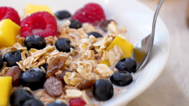 vídeos de stock e filmes b-roll de muesli with fruit and milk - granola
