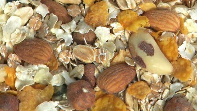 Muesli with nuts, cereal, cornflakes video