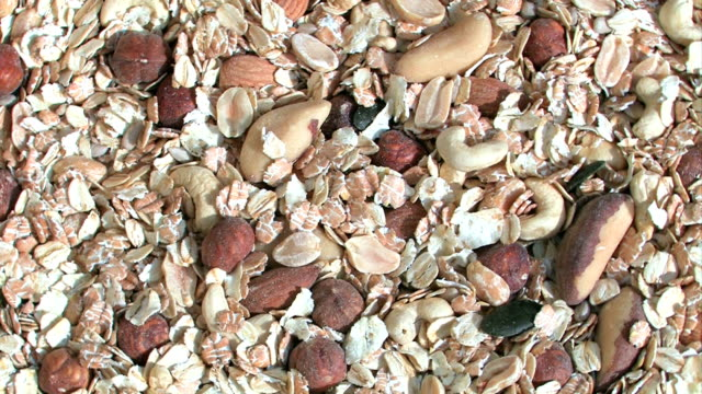Muesli with nuts, cereal video