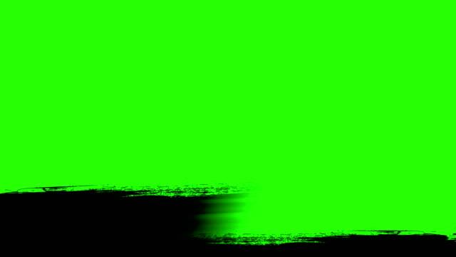 vidéos et rushes de transition de course horizontale noir de brosse multi abstraite splash encre peinture sur fond d'écran vert clé de chroma, animation de peinture - pinceau