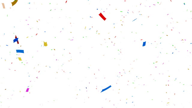 Multi colored confetti falling + Alpha Channel 3d animation, 4K. happy birthday stock videos & royalty-free footage