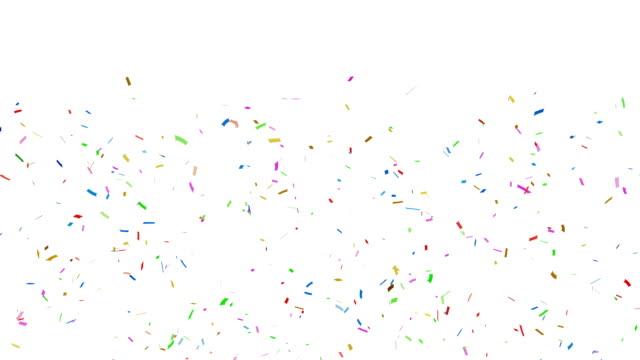 bunten konfetti fallen + alpha-kanal - luftschlangen und konfetti stock-videos und b-roll-filmmaterial