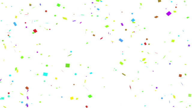 Multi colored Confetti falling on white, black, isolated and green screen background