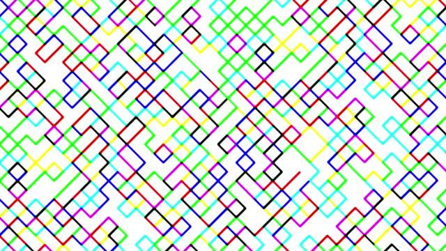 Multi colored digital diagonal squares pattern video