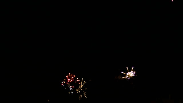 Multi Colored Firecrackers On Night Sky Celebration video