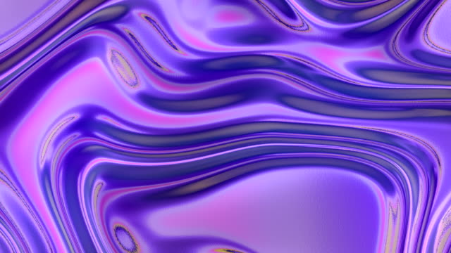 Multi colored holographic waves pattern. Futuristic abstract rainbow cover. 3d rendering digital seamless loop animation. 4K, Ultra HD resolution