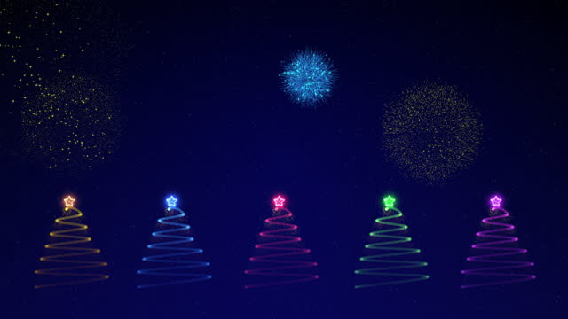 Multi colored Particle Christmas tree With fireworks motion graphics.