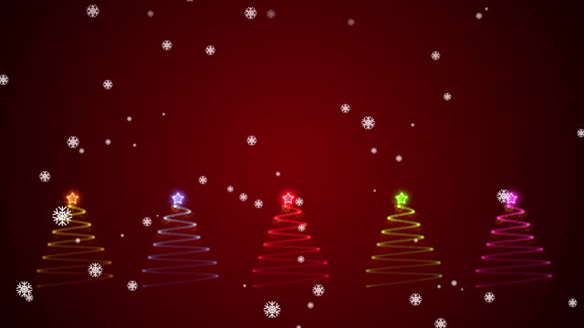 Multi colored Particle Christmas tree With Snowflake motion graphics.