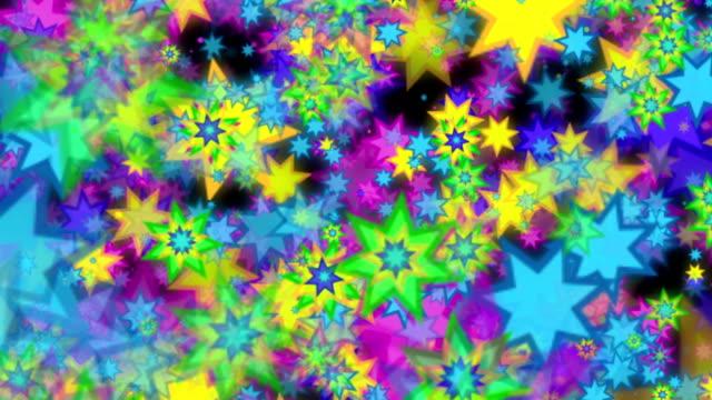 Multi colored stars background video