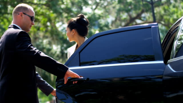 Multi Ethnic Business Executives Using Limousine Successful male female business advisors getting into luxury black limousine after arriving at airport for important meeting shot on RED EPIC luxury car stock videos & royalty-free footage