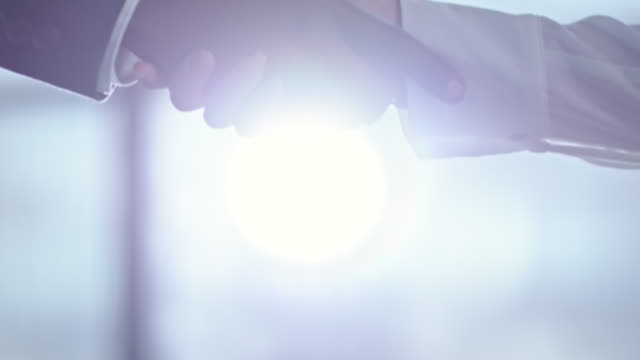 multi ethnic businesspeople shaking hands - fiducia video stock e b–roll