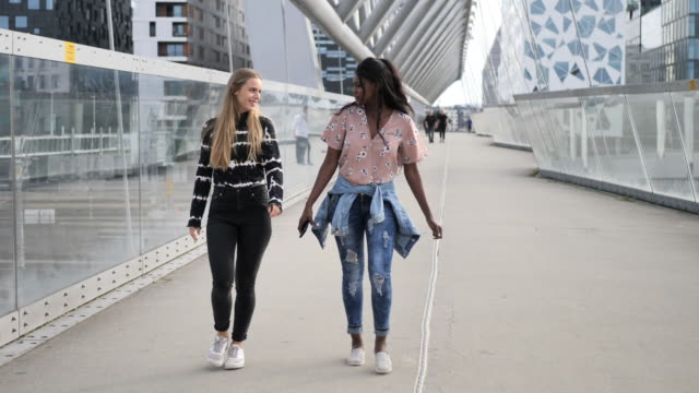 Multi ethnic female friends with perfect smiles - slow motion video Young diverse women living in Scandinavia scandinavia stock videos & royalty-free footage