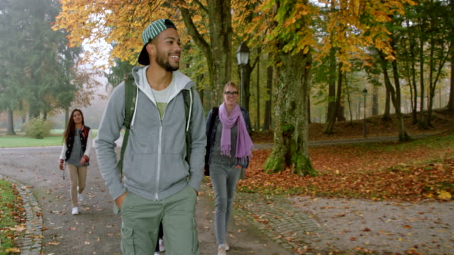 Multi ethnic male student running into his two male friends in the park and chatting with them as they walk Wide handheld shot of a multi ethnic male student catching up with his two male friends walking through the park and chatting while they walk. Shot in Slovenia. university student stock videos & royalty-free footage