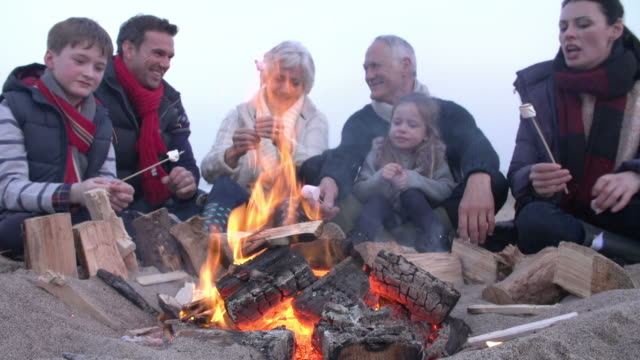 Multi Generation Family By Fire Toasting Marshmallows video