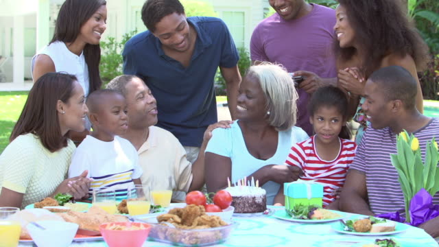 Multi Generation Family Celebrating Birthday In Garden video