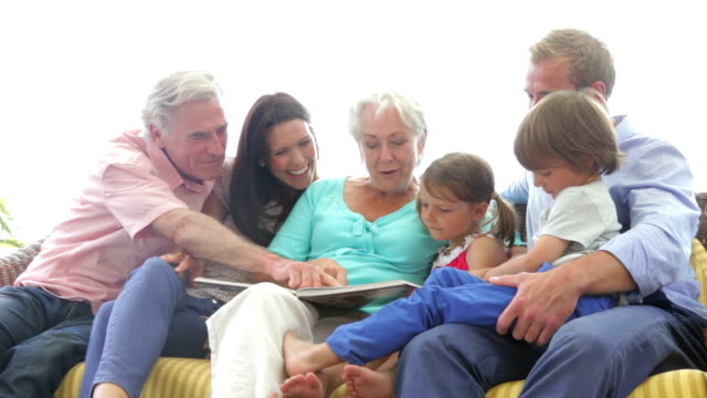 Multi Generation Family Reading Book Together video