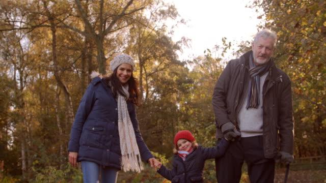 multi generation familj ta hund för walk in fall landskap - hund skog bildbanksvideor och videomaterial från bakom kulisserna