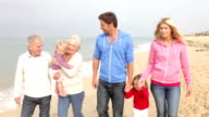 istock Multi Generation Family Walking Along Beach Together 163089737