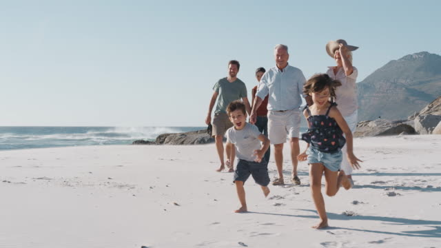 Multi Generation Family Walking Along Sandy Beach On Summer Vacation video