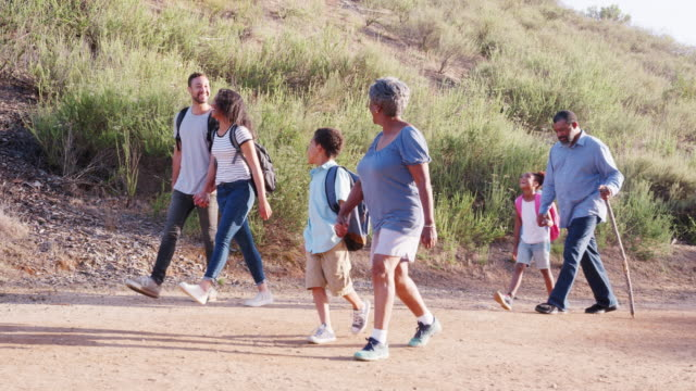 multi generation family wearing backpacks hiking in countryside together - nonna e nipote camminare video stock e b–roll
