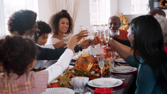 Multi generation mixed race family raising glasses to make a toast sitting at their Thanksgiving dinner table, close up