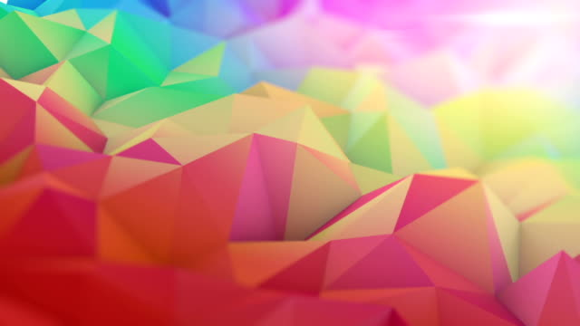 Multicolor 3D surface with shallow DOF seamless loop animation Multicolor surface with shallow DOF. Semless loop abstract 3D render animation. low poly modelling stock videos & royalty-free footage