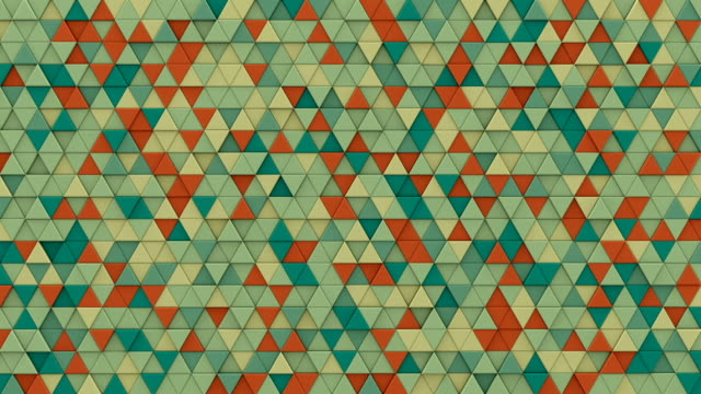 Multicolor chaotic extruded triangles 3D render loopable video
