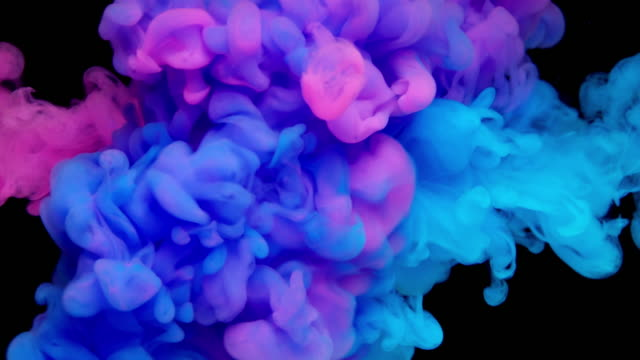 スローモーション: 多色液体の流れ - インク点の映像素材/bロール