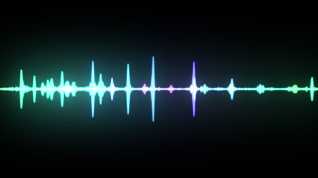 multicolor waveform spectrum, imagination of voice record, artificial intelligence, seamless loop 4k animation - assistente virtuale video stock e b–roll