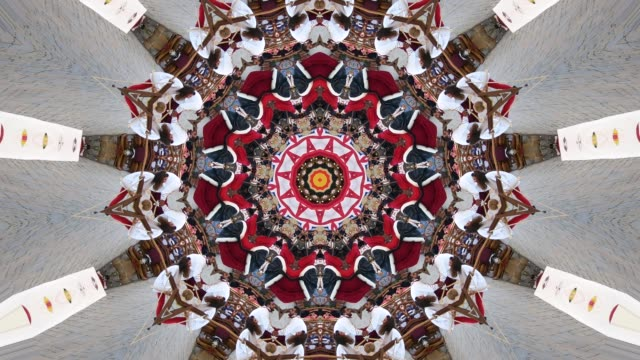 vídeos de stock e filmes b-roll de multicolored abstract background and movement with kaleidoscope effect - mandala