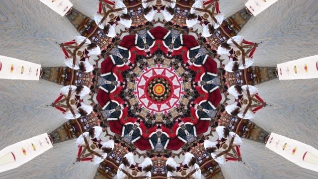 stockvideo's en b-roll-footage met veelkleurige abstracte achtergrond en beweging met caleidoscoop effect - mandala