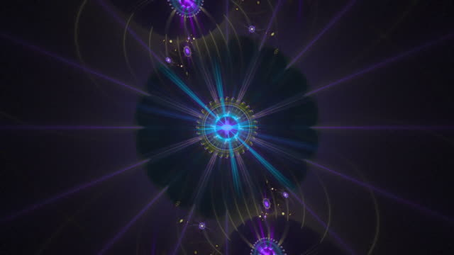 Multi-colored abstract loop high resolution fractal video, which movements remind those of the solar system.