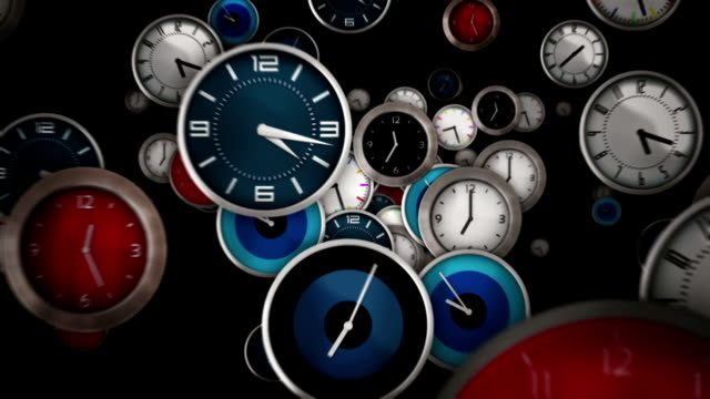 Multicolored clocks flying. Black background. Loopable. Multicolored clocks flying symbolizing the passing of time. Loopable. Each frame equals 1 minute.  Luma matte. Full HD. Animation created exclusively for iStockphoto. Esqtodos3_ wall clock stock videos & royalty-free footage