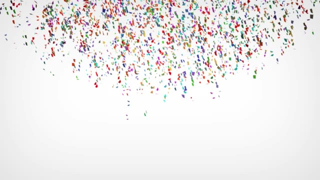 コピースペースで白い背景に爆発する多色の紙吹雪 - キラキラ 白背景点の映像素材/bロール