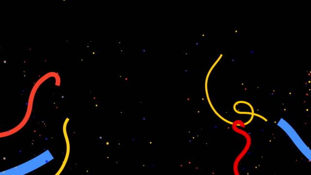 multicolored confetti falling overlay alpha channel - confetti stock videos & royalty-free footage