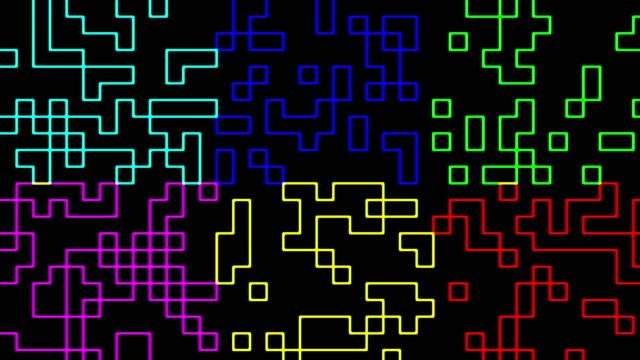 Multicolored digital squares signal video