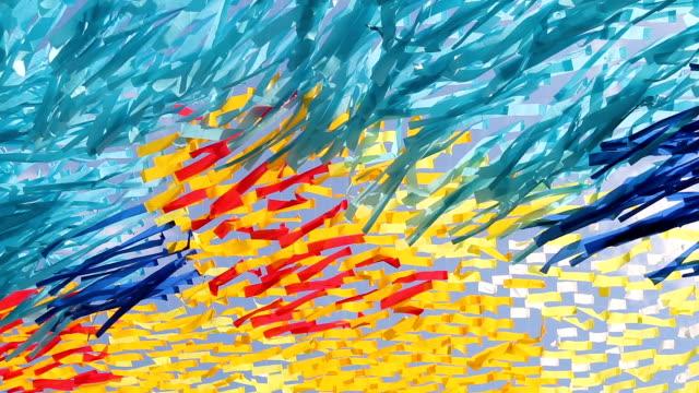 vídeos de stock, filmes e b-roll de tiras de tecido multicoloridos desenvolvidas no vento - colorful background