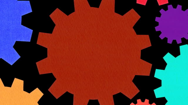 Multicolored gears background video