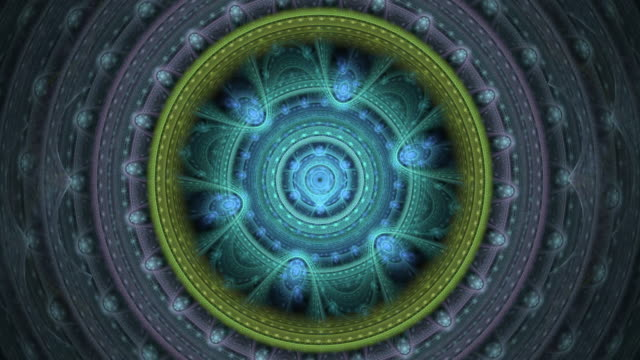 Multi-colored high resolution fractal video which motions remind of mechanism gears.