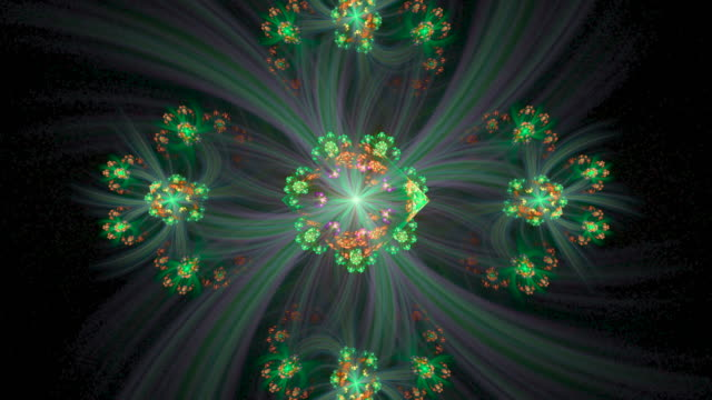 Multi-colored high resolution fractal video, which patterns remind those of a wild blooming flower.