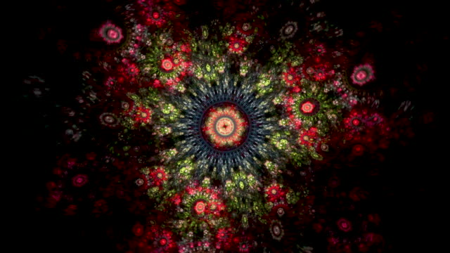 Multi-colored high resolution fractal video which patterns reminds those of an old-fashioned tapestry.