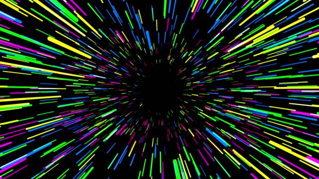 vídeos y material grabado en eventos de stock de multicolor salto al hiperespacio, animación 3d - infinito