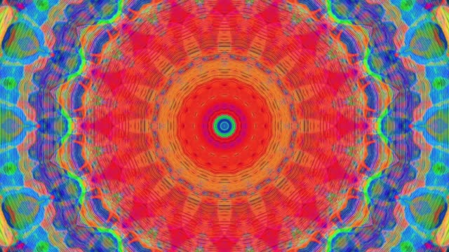 vídeos de stock e filmes b-roll de multi-colored ornamental trendy iridescent background. light transformations - mandala