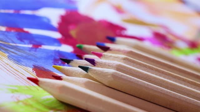 multicolored  pencils - matita colorata video stock e b–roll