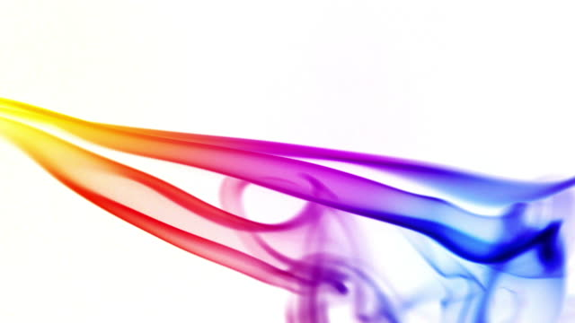 Multicolored smoke on a white background video