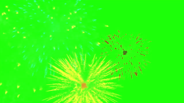 Multicolour animated fireworks on the green screen background video