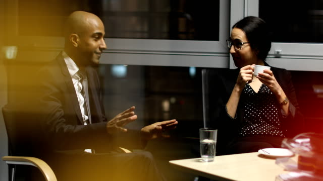 Multi-ethnic business people discussing in board room at night video