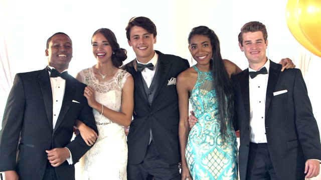 multi-ethnic friends dressed for the prom - prom stock videos and b-roll footage