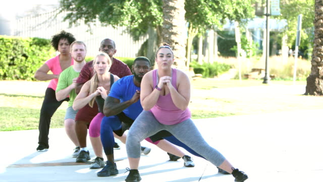 multi-ethnic group in exercise class doing lunges - kurs ćwiczeń filmów i materiałów b-roll