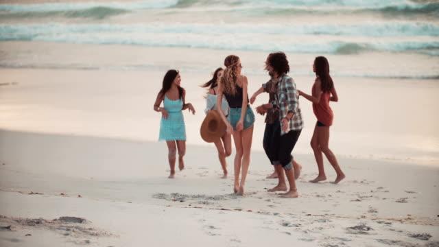 Multi-etnico Gruppo di Hipster gli amici ballare sulla spiaggia di sabbia - video